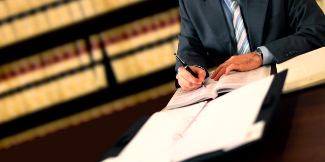 Lawyer working at his desk in the office